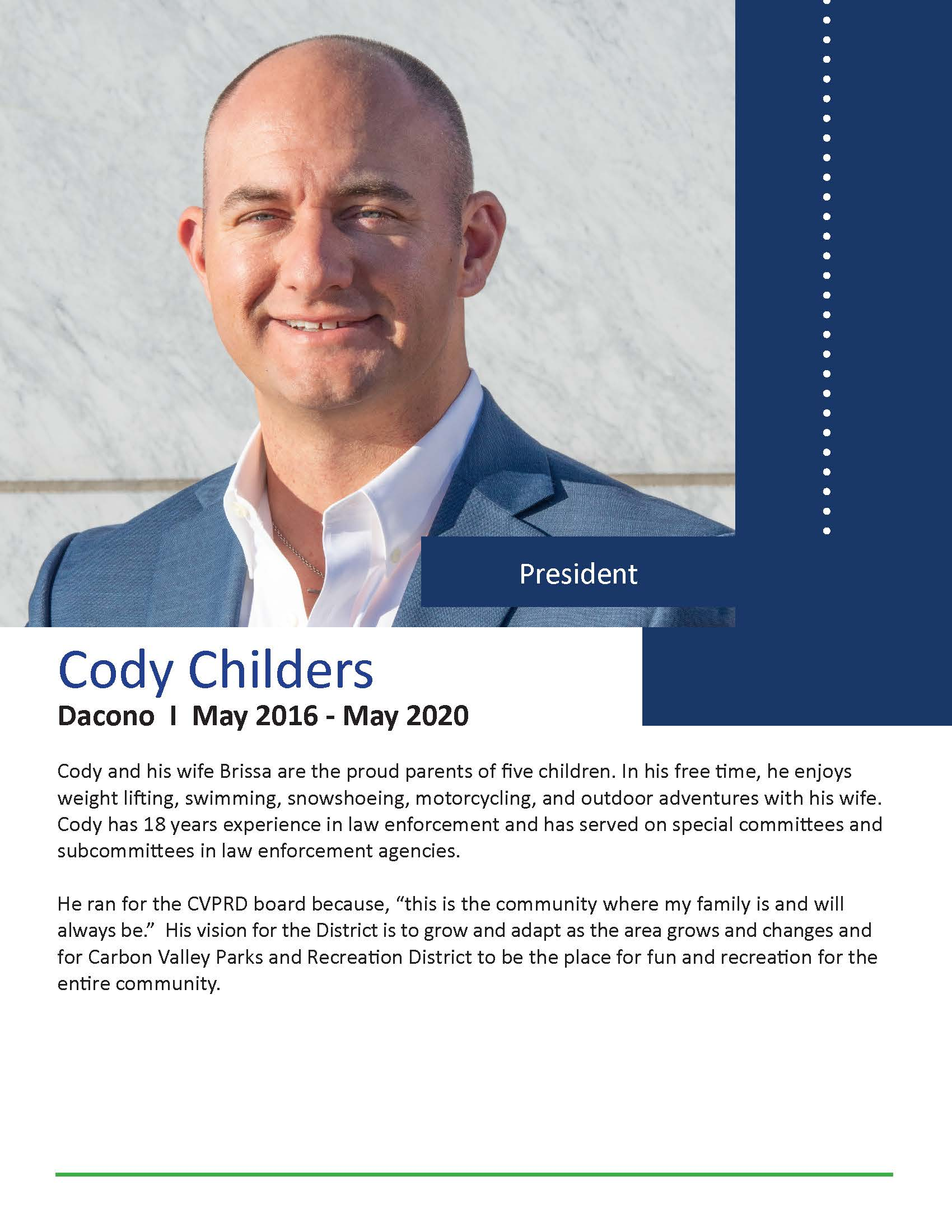 Photo of board president Cody Childers